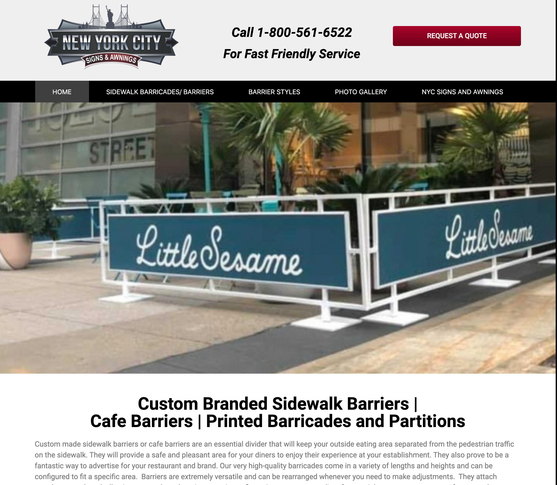 Screen Shot of Website for www.sidewalkbarriers.com/