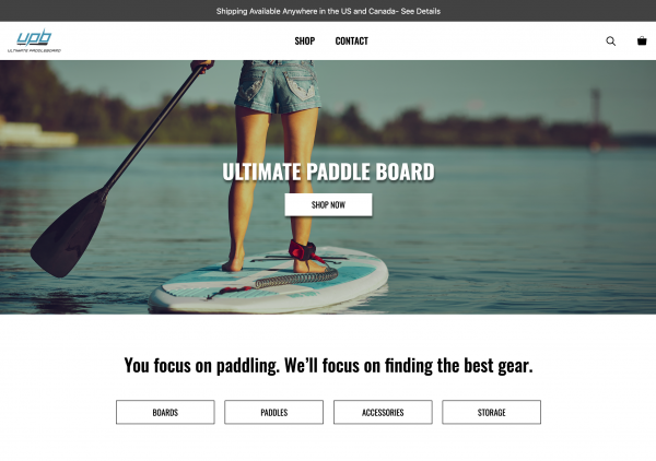 Screen Shot of ultimatepaddleboard.com by Open Space Digital, Inc.